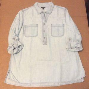 Talbots soft Tencel roll tab sleeved shirt top PL
